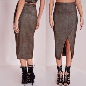 Missguided Wrap Over Metallic Midi Skirt NWT